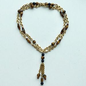 Vintage Tiger Eye Gold Necklace